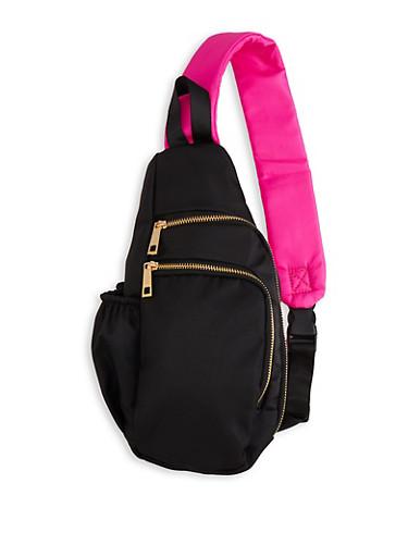 Double Zip Crossbody Backpack,BLACK,large