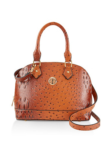 Faux Ostrich Leather Bowler Bag,BROWN,large