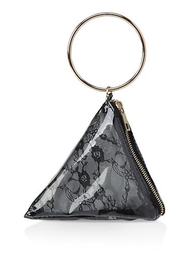Lace Prism Wristlet,BLACK,large