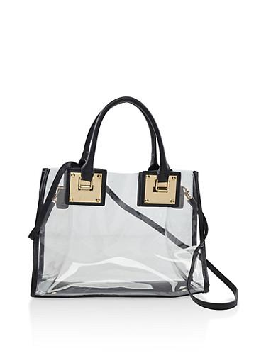 Clear Metallic Detail Tote Bag,BLACK,large