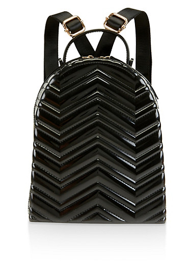 Chevron Quilted Jelly Backpack,BLACK,large