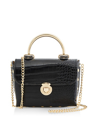 Mini Metallic Handle Crossbody Satchel,BLACK,large