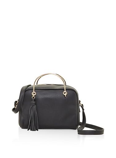 Metallic Handle Tassle Crossbody Bag,BLACK,large