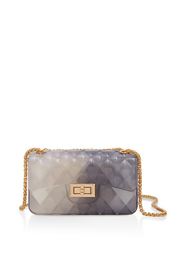 Quilted Jelly Crossbody Bag,BLACK,large