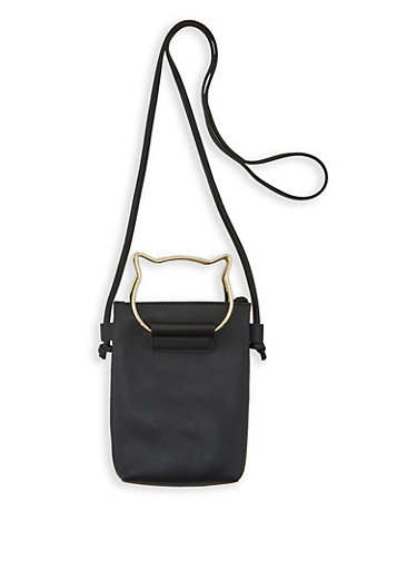 Cat Handle Faux Leather Crossbody Bag,BLACK,large