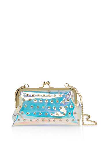 Rhinestone Studded Kisslock Crossbody Bag,CLEAR,large
