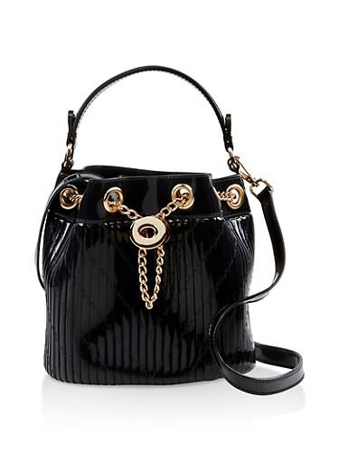 Jelly Crossbody Bucket Bag,BLACK,large