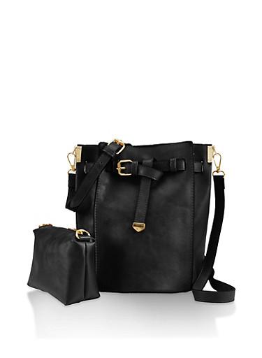 Faux Leather Crossbody Bucket Bag,BLACK,large