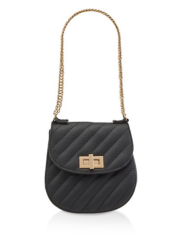 Quilted Chain Strap Handbag,BLACK,large
