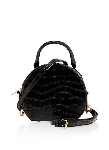 Faux Croc Round Crossbody Bag,BLACK,large