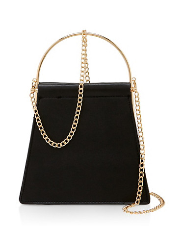 Metallic Handle Trapeze Crossbody Handbag,BLACK,large