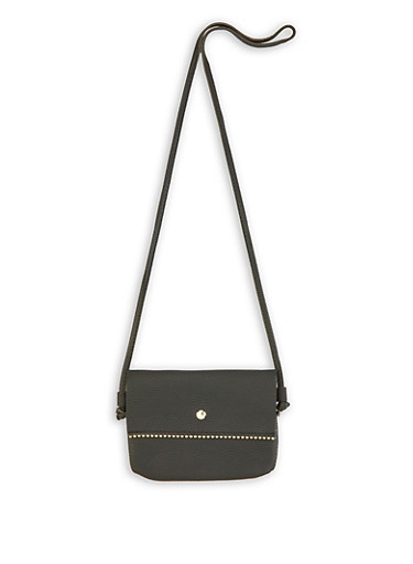 Beaded Trim Faux Leather Crossbody Bag,BLACK,large