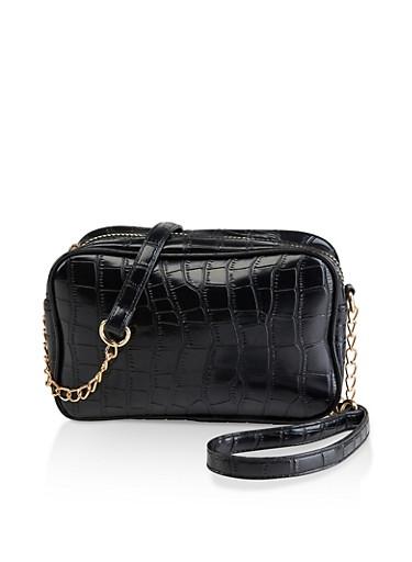 Faux Croc Double Zip Crossbody Bag,BLACK,large