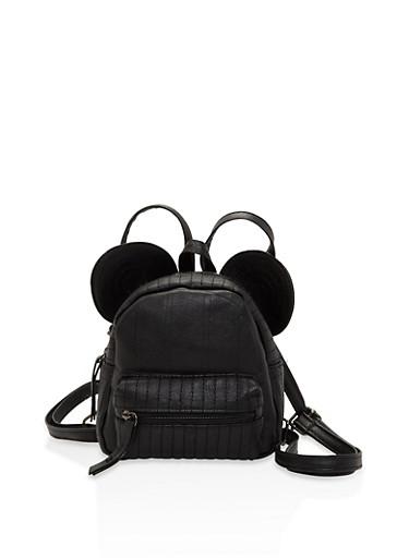 Mouse Ear Mini Backpack,BLACK,large