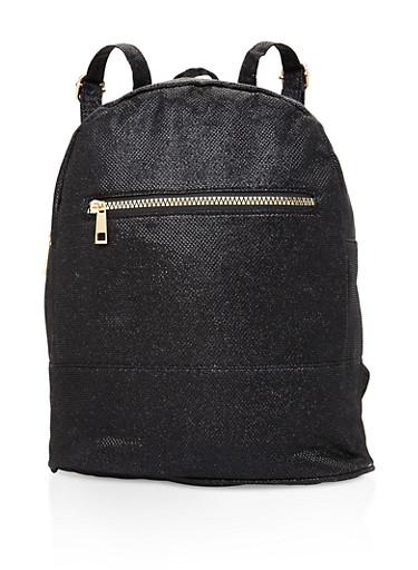 Glitter Double Zip Backpack,BLACK,large