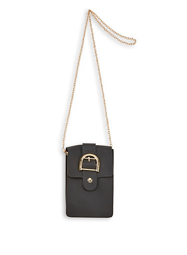 Buckle Detail Faux Leather Crossbody Bag,BLACK,large