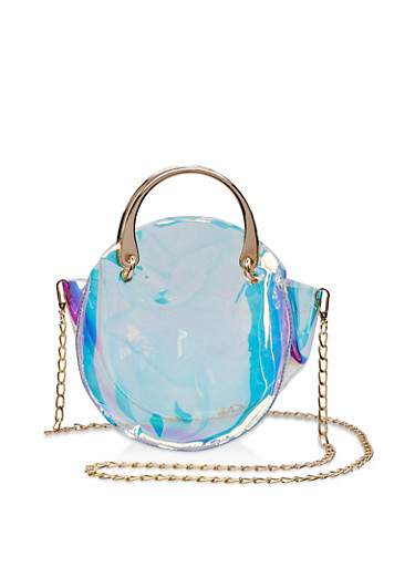Round Iridescent Crossbody Bag,MULTI COLOR,large