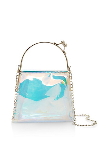 Holographic Crossbody Bag,SILVER,large