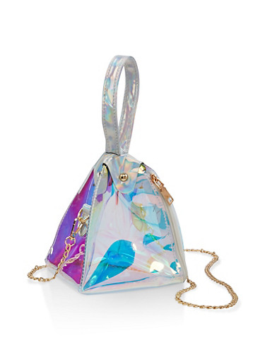 Pyramid Iridescent Crossbody Bag,MULTI COLOR,large