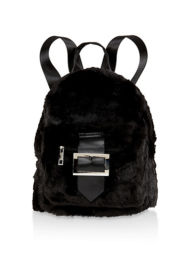 Buckle Faux Fur Backpack,BLACK,large