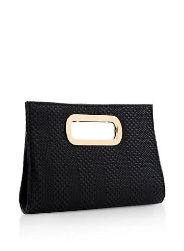 Woven Faux Leather Clutch,BLACK,large