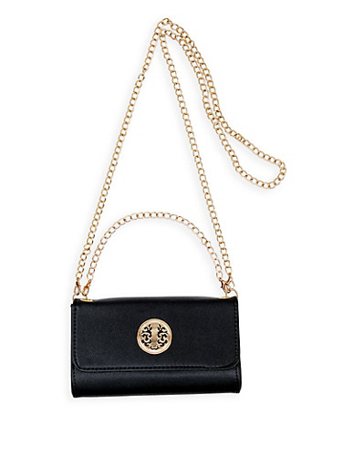 Metallic Detail Small Crossbody Bag,BLACK,large