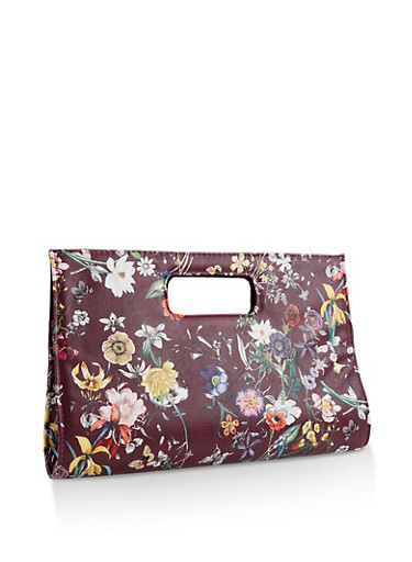 Faux Leather Floral Clutch,BURGUNDY,large