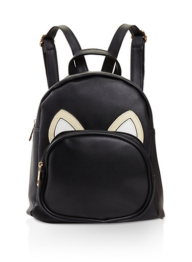 Animal Ears Graphic Faux Leather Backpack,BLACK,large