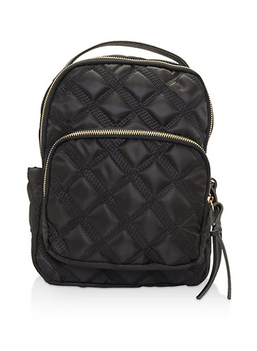 Quilted Nylon Backpack,BLACK,large