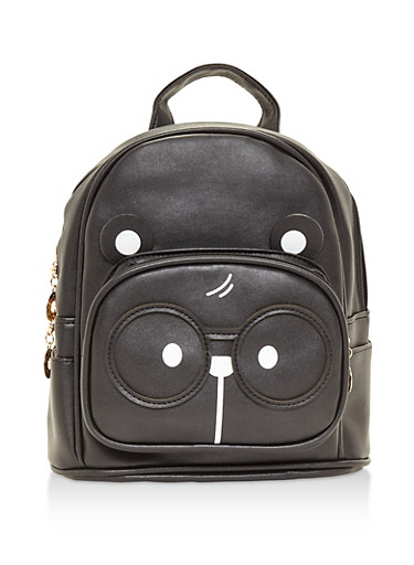 Double Zip Bear Backpack,BLACK,large