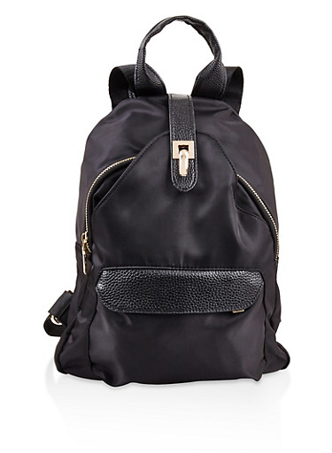 Faux Leather Trim Nylon Backpack,BLACK,large