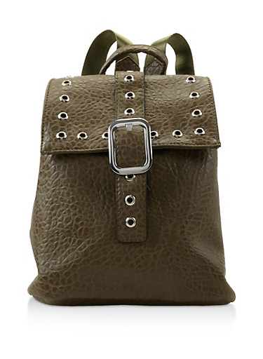 Grommet Detail Textured Faux Leather Backpack,OLIVE,large