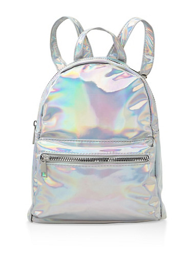 Small Iridescent Backpack,SILVER,large