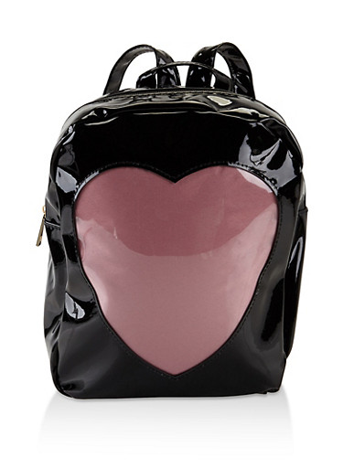 Faux Patent Leather Heart Backpack,BLACK,large
