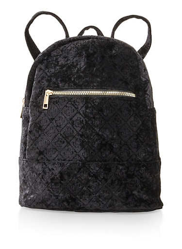 Embossed Crushed Velvet Backpack,BLACK,large