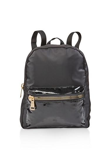 Nylon Zipper Detail Backpack,BLACK,large