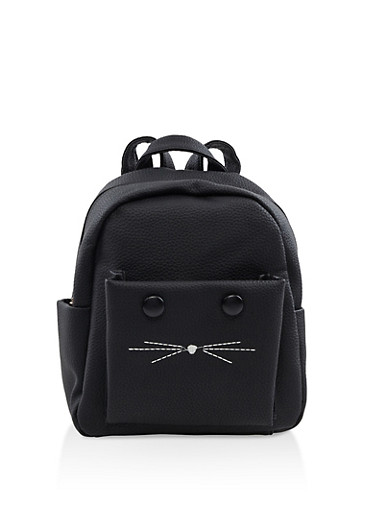 Small Faux Leather Cat Backpack,BLACK,large