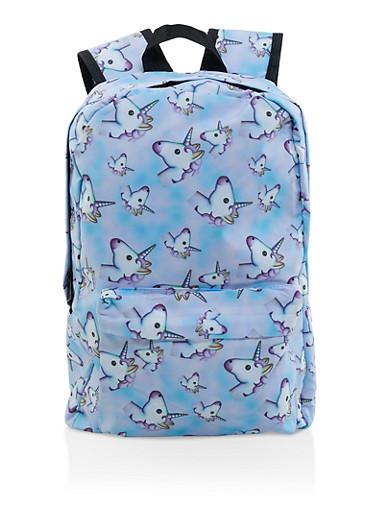 Unicorn Print Backpack,MULTI COLOR,large