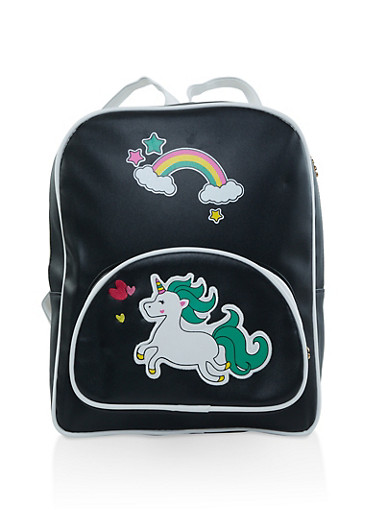 Unicorn Graphic Faux Leather Backpack,BLACK,large