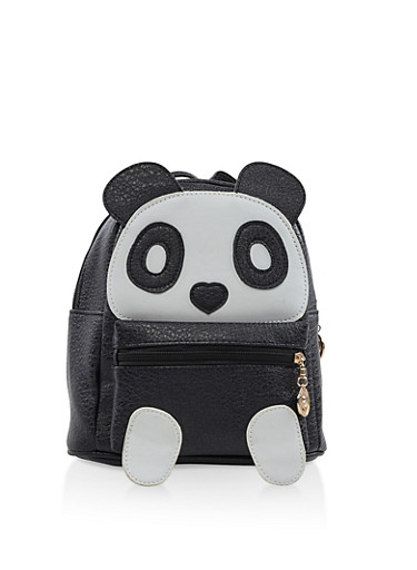 Small Faux Leather Panda Backpack,BLACK,large