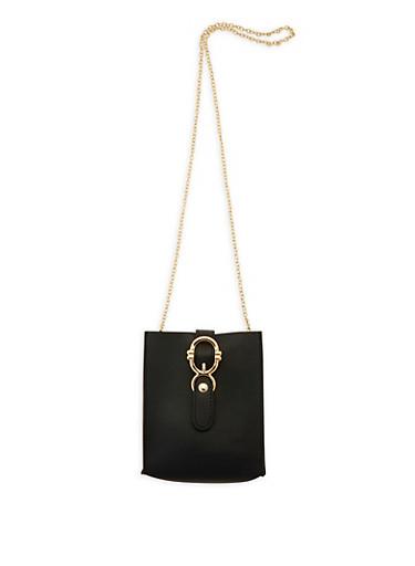 Square Chain Crossbody Bag,BLACK,large