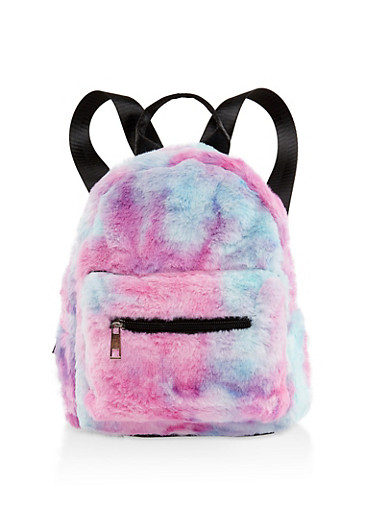 Small Multi Color Faux Fur Backpack,PINK,large