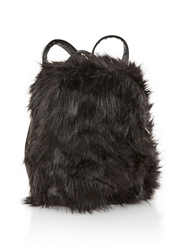 Small Faux Fur Backpack,BLACK,large
