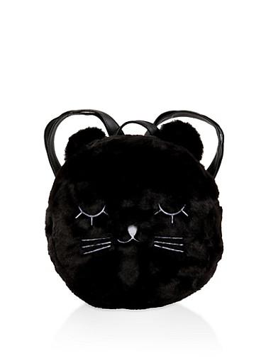 Round Cat Ear Back Pack,BLACK,large