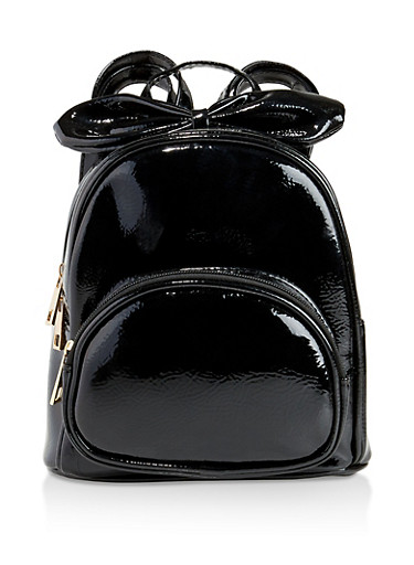 Faux Patent Leather Bow Backpack,BLACK,large