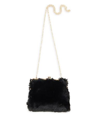 Faux Fur Kiss Lock Crossbody Bag,BLACK,large