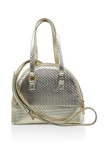 Small Textured Faux Leather Bowler Bag,GOLD,large