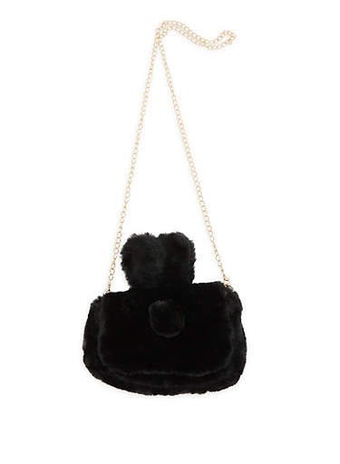 Faux Fur Bunny Ear Crossbody Bag,BLACK,large