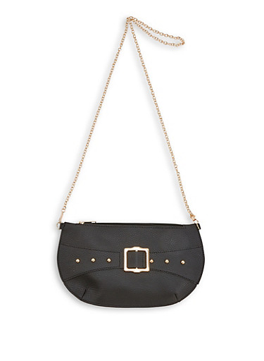 Buckle Detail Slim Crossbody Bag,BLACK,large