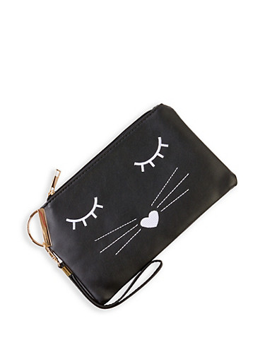 Embroidered Cat Clutch,BLACK,large